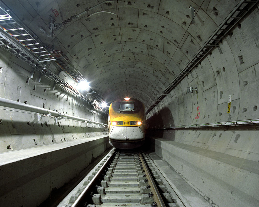 A Eurostar train in the tunnel which runs between Stratford and St Pancras International