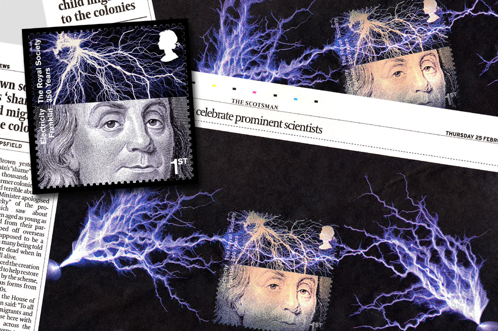 Royal Society Stamps - Franklin - Electricity 2