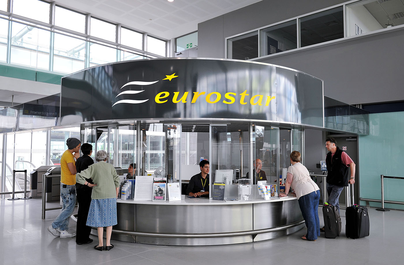 The Eurostar customer information desk at Ebbsfleet International train station in North Kent
