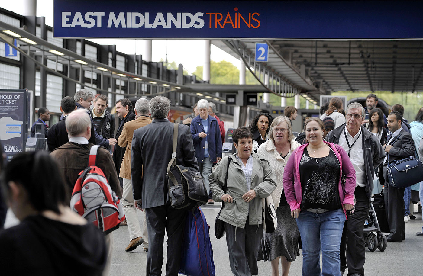 Passengers arrive on the East Midlands train services at St Pancras International
