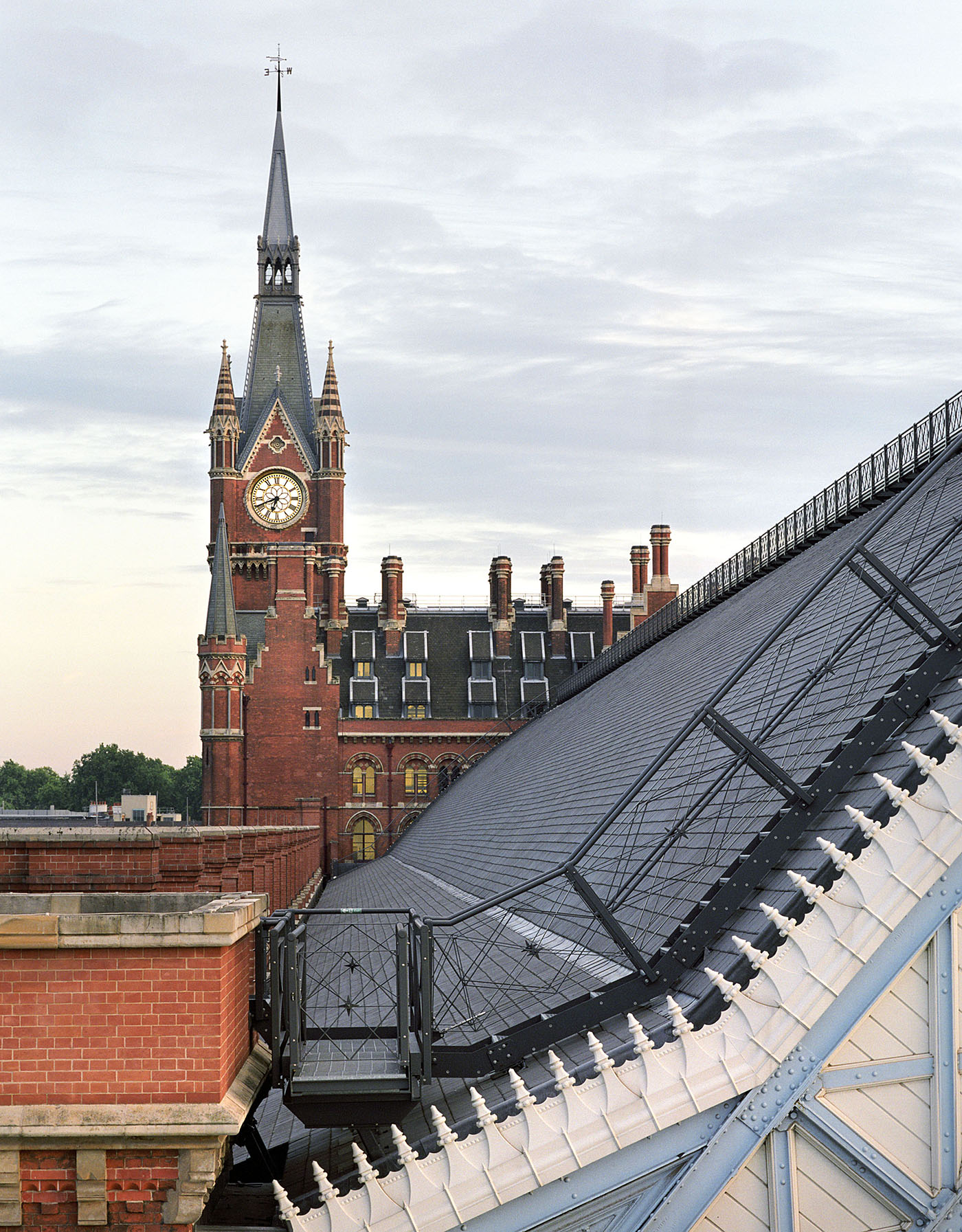 The Tower of St Pancras Hotel as seen from the roof of the Barlow Shed at St Pancras International